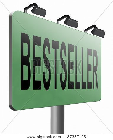 Bestseller, most popular road sign popularity billboard for best seller or market leader and top product or rating in the charts 3D illustration, isolated, on white