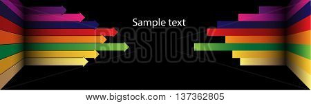 Background with colored arrows. It can be used in the design of flyers, posters, banners, and other decoration works. Vector graphics.