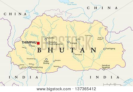 Bhutan political map with capital Thimphu, national borders, important cities, rivers and lakes. Landlocked kingdom in South Asia, Eastern Himalaya. English labeling. Illustration.