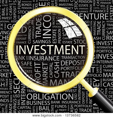INVESTMENT. Magnifying glass over seamless background with different association terms. Vector illustration.