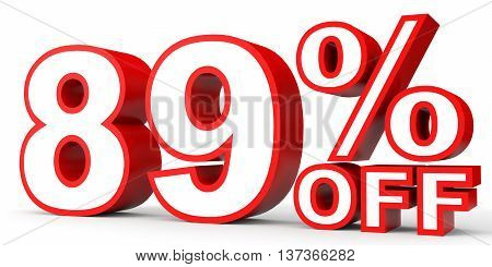 Discount 89 Percent Off. 3D Illustration On White Background.