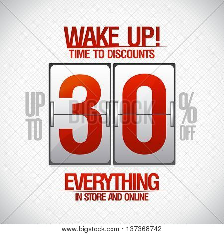 Wake up! -30 percents sale coupon in shape of analog flip clock.