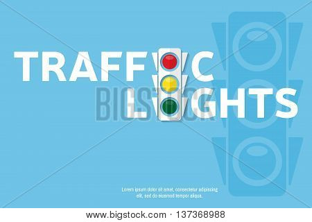 Traffic Light Background With Place For Your Text. Semaphore Design Template. Traffic Light Banner F
