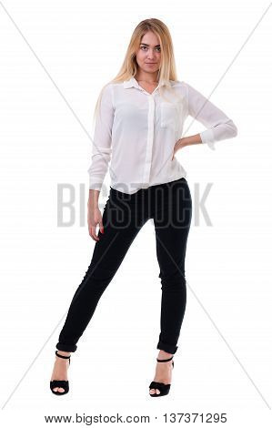 Full length of beautiful blond business woman standing over isolated white background with copy space