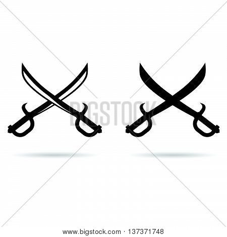 Pirate Sword Set In Black Illustration