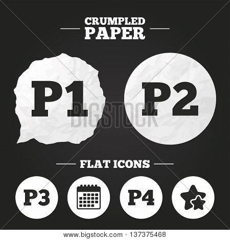 Crumpled paper speech bubble. Car parking icons. First, second, third and four floor signs. P1, P2, P3 and P4 symbols. Paper button. Vector