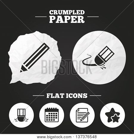 Crumpled paper speech bubble. Pencil icon. Edit document file. Eraser sign. Correct drawing symbol. Paper button. Vector