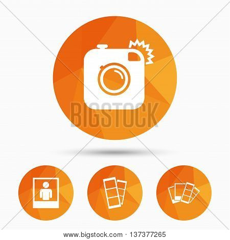 Hipster photo camera icon. Flash light symbol. Photo booth strips sign. Human portrait photo frame. Triangular low poly buttons with shadow. Vector