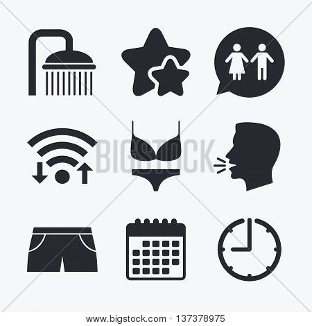 Swimming pool icons. Shower water drops and swimwear symbols. WC Toilet speech bubble sign. Trunks and women underwear. Wifi internet, favorite stars, calendar and clock. Talking head. Vector