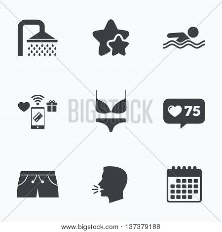 Swimming pool icons. Shower water drops and swimwear symbols. Human swims in sea waves sign. Trunks and women underwear. Flat talking head, calendar icons. Stars, like counter icons. Vector