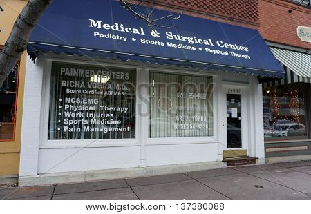 PLAINFIELD, ILLINOIS / UNITED STATES - DECEMBER 29, 2015: The Medical and Surgical Center offers podiatry, sports medicine, and physical therapy in historic downtown Plainfield.