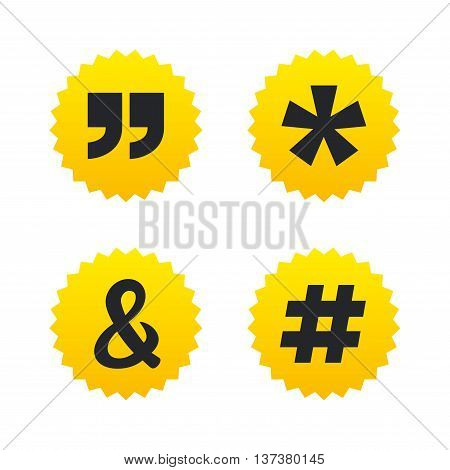 Quote, asterisk footnote icons. Hashtag social media and ampersand symbols. Programming logical operator AND sign. Yellow stars labels with flat icons. Vector