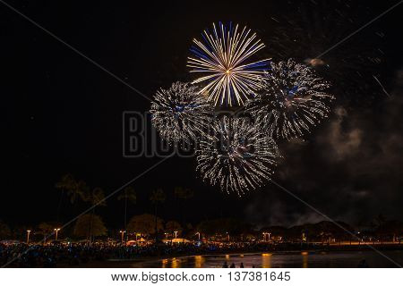 Fireworks light up the sky during Hawaii's largest fireworks display on the Fourth of July at Ala Moana Beach Park in Honolulu on Oahu.
