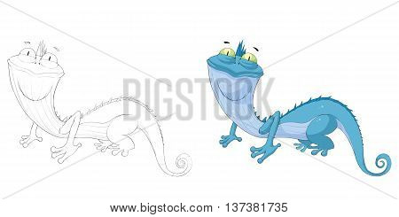 Chameleon or Lizard Dragon. Coloring Book, Outline Sketch, Animal Mascot, Game Character Design isolated on White Background