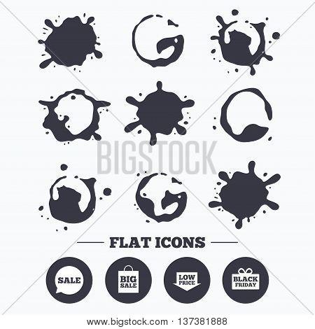 Paint, coffee or milk splash blots. Sale speech bubble icon. Black friday gift box symbol. Big sale shopping bag. Low price arrow sign. Smudges splashes drops. Vector