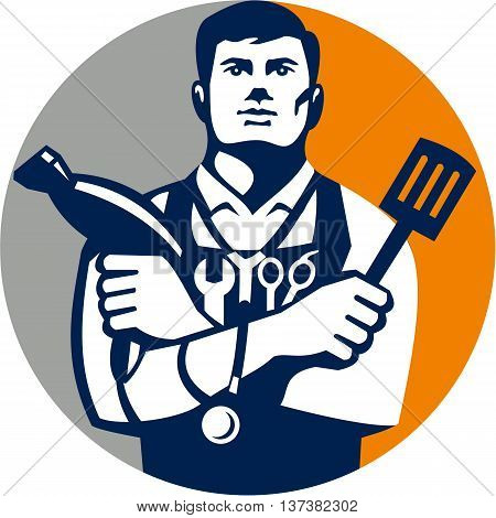Illustration of a jack of all trades holding a blow dryer and spatula with stethoscope on neck and spanner and barber scissors in apron facing front set inside circle on isolated background done in retro style.