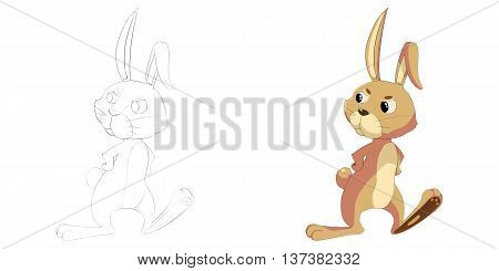 Happy Bunny. Coloring Book, Outline Sketch, Animal Mascot, Game Character Design isolated on White Background