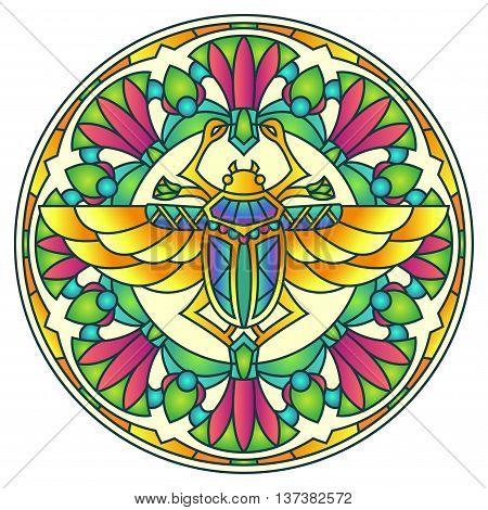 Ancient Egyptian Scarab Colorful Round Mandala Ornament