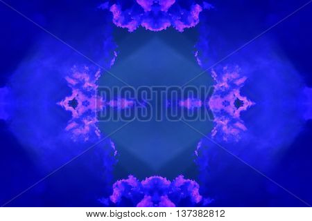 Abstract geometric seamless background. Ornate pattern turquoise with dark blue wiggly outlines and purple elements.