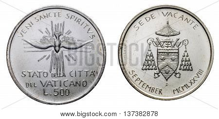 Papal Vacant see 1978 september silver coin uncircoled isolated on white, front with Veni sancte spiritus