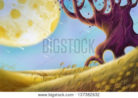 Creative Illustration and Innovative Art: Alien Planet Landscapes. Realistic Fantastic Cartoon Style Artwork Scene, Wallpaper, Story Background, Card Design