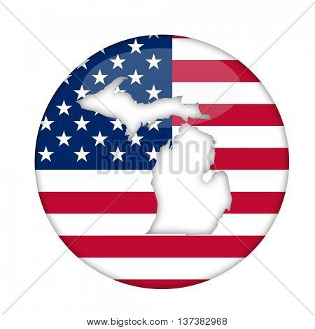 Michigan state of America badge isolated on a white background.