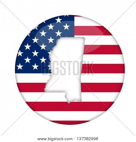 Mississippi state of America badge isolated on a white background.