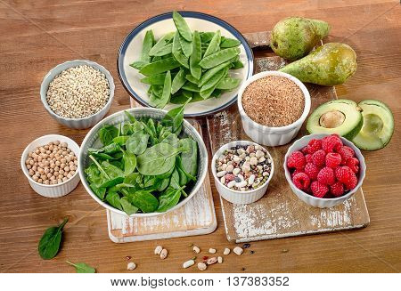 Fiber And Carbs Rich Foods On Wooden Board.
