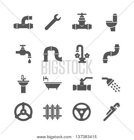 Plumbing service objects, tools, bathroom, sanitary engineering vector icons. Plumbing for bathroom, set of icon plumbing pipe illustration poster