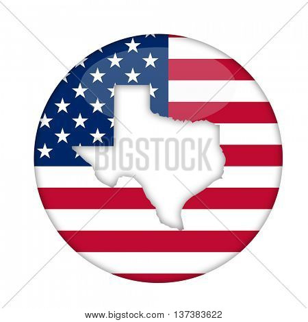 Texas state of America badge isolated on a white background.