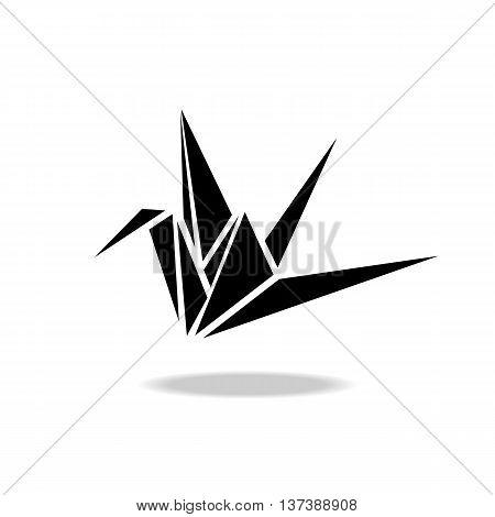 Polygonal black image of origami paper crane.