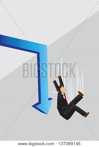 Blue arrow turns down sharply and businessman fall over the edge. Creative cartoon vector illustration on economy crisis concept.