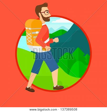 A hipster man with the beard hiking in mountains. Traveler with backpack mountaineering. Hiking man with backpack walking outdoor. Vector flat design illustration in the circle isolated on background.