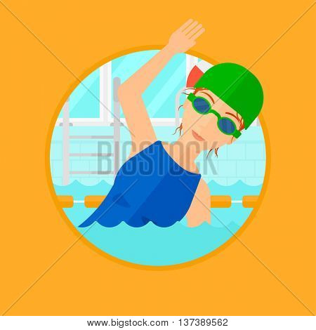 Young sportswoman wearing cap and glasses swimming in pool. Professional female swimmer in swimming pool. Vector flat design illustration in the circle isolated on background.