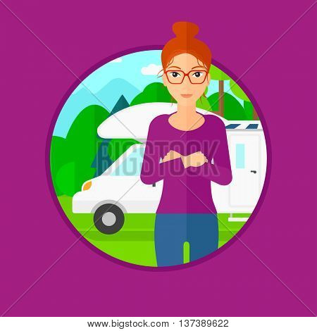 Woman standing in front of motor home. Woman with arms crossed enjoying vacation in camper van. Woman travelling by camper van. Vector flat design illustration in the circle isolated on background.