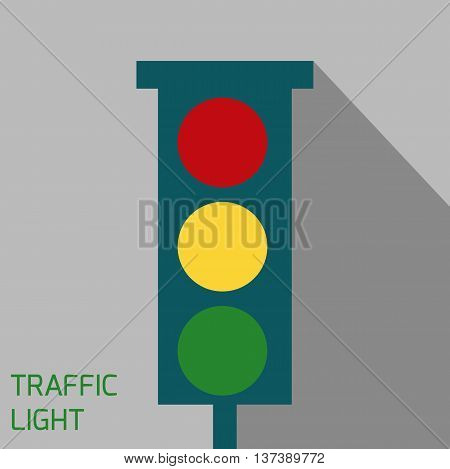 Vector icon of traffic light. Traffic light with shadow.