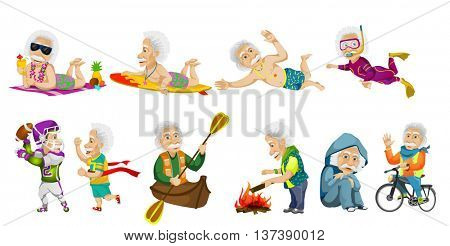 Vector set of old man surfing, swimming, snorkeling, riding bicycle, riding canoe, crossing finish line, relaxing, playing rugby, kindling campfire. Vector illustration isolated on white background.