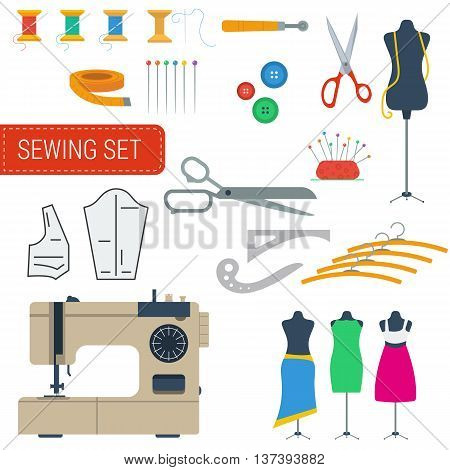 Vector isolated sewing equipment color set. Handicraft tools and sewing kit needle sewing machine in flat style
