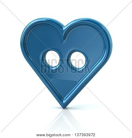 3D Illustration Of Blue Button In The Shape Of A Heart