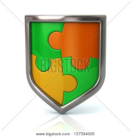 Shield With Green And Yellow Puzzle Pieces