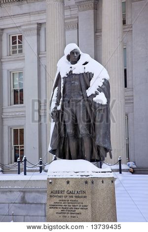 Albert Gallatin Statue Snow Us Treasury Department Washington Dc