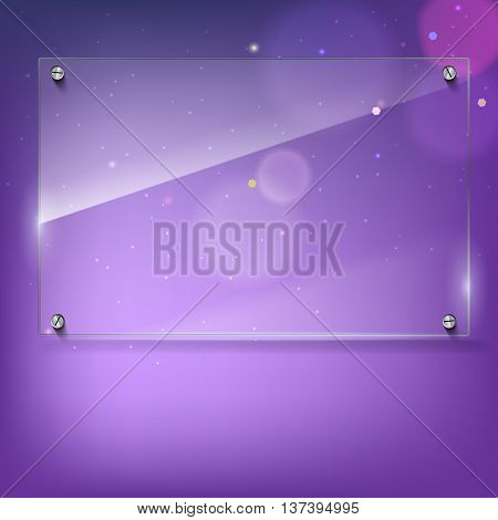 Vector glass frame with steel rivets. Glass framework. Transparent glass frame on the colored background with bokeh effect. Clear glass top festive background with blurred colored lights