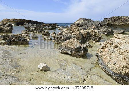 Beach & Eroded Rocks Cape Drepano Agios Georgios Cyprus