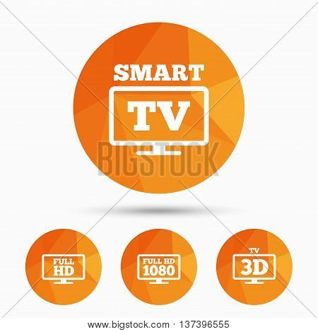 Smart TV mode icon. Widescreen symbol. Full hd 1080p resolution. 3D Television sign. Triangular low poly buttons with shadow. Vector