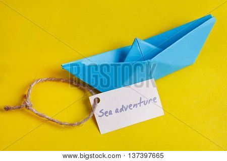 Label With The Words Sea Adventure Which Means Go To Trip On The Yacht