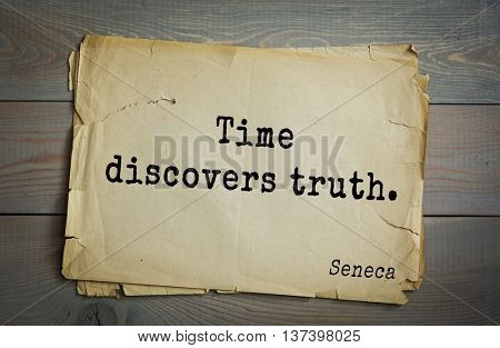 Quote of the Roman philosopher Seneca (4 BC-65 AD). Time discovers truth