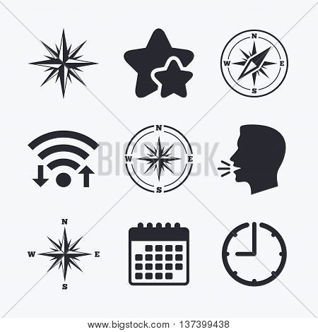 Windrose navigation icons. Compass symbols. Coordinate system sign. Wifi internet, favorite stars, calendar and clock. Talking head. Vector poster