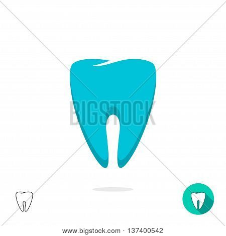 Tooth logo vector symbol, flat outline linear tooth sign, tooth sketch, teeth modern design isolated on white background
