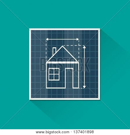 Paper house plan vector photo free trial bigstock paper house plan with dimension lines blueprint drawing in shape of house sign architecture malvernweather Image collections