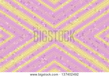 Illustration of a pink and yellow mosaic cross